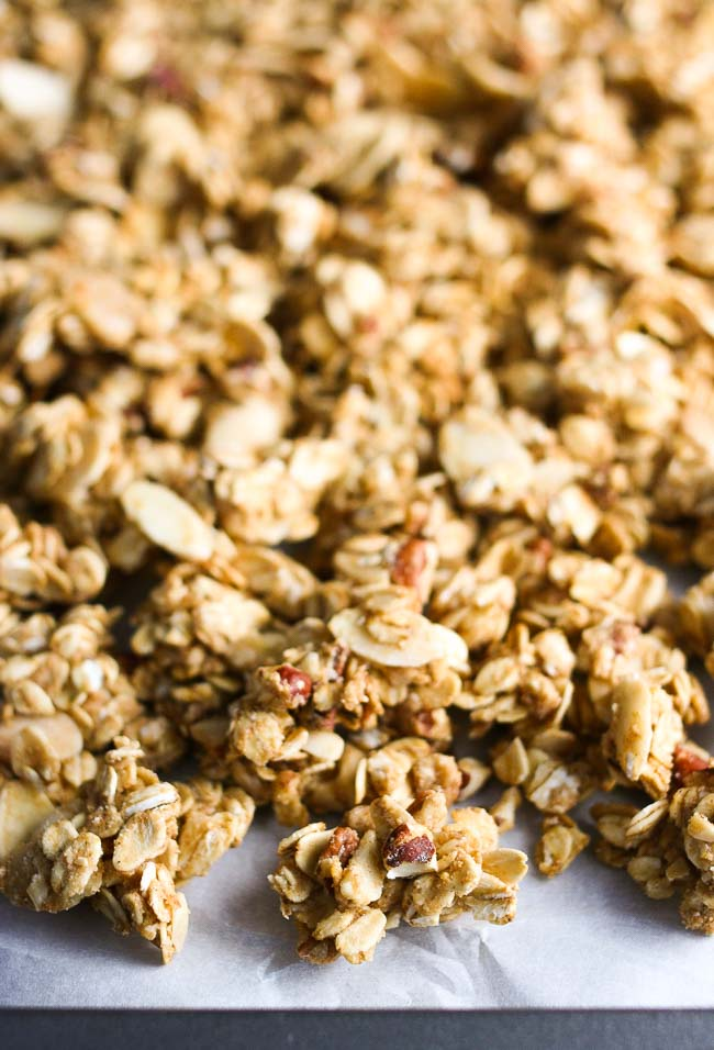 Crisp, hearty clusters of naturally sweetened, gluten-free, and dairy-free granola.